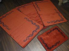 ROMANY GYPSY WASHABLES TRAVELLERS MATS THICK SET OF 4 MATS/RUGS TERRA/BLACK NICE